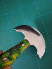 KL green stabilized handle custom round knife (preorder)